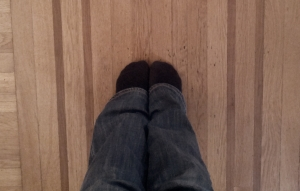 Here's my feet.  Standing.  Between two lines.